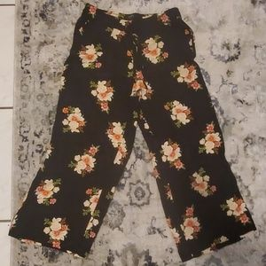 LOFT M Wide Legged Floral Drawstring Dress Pants